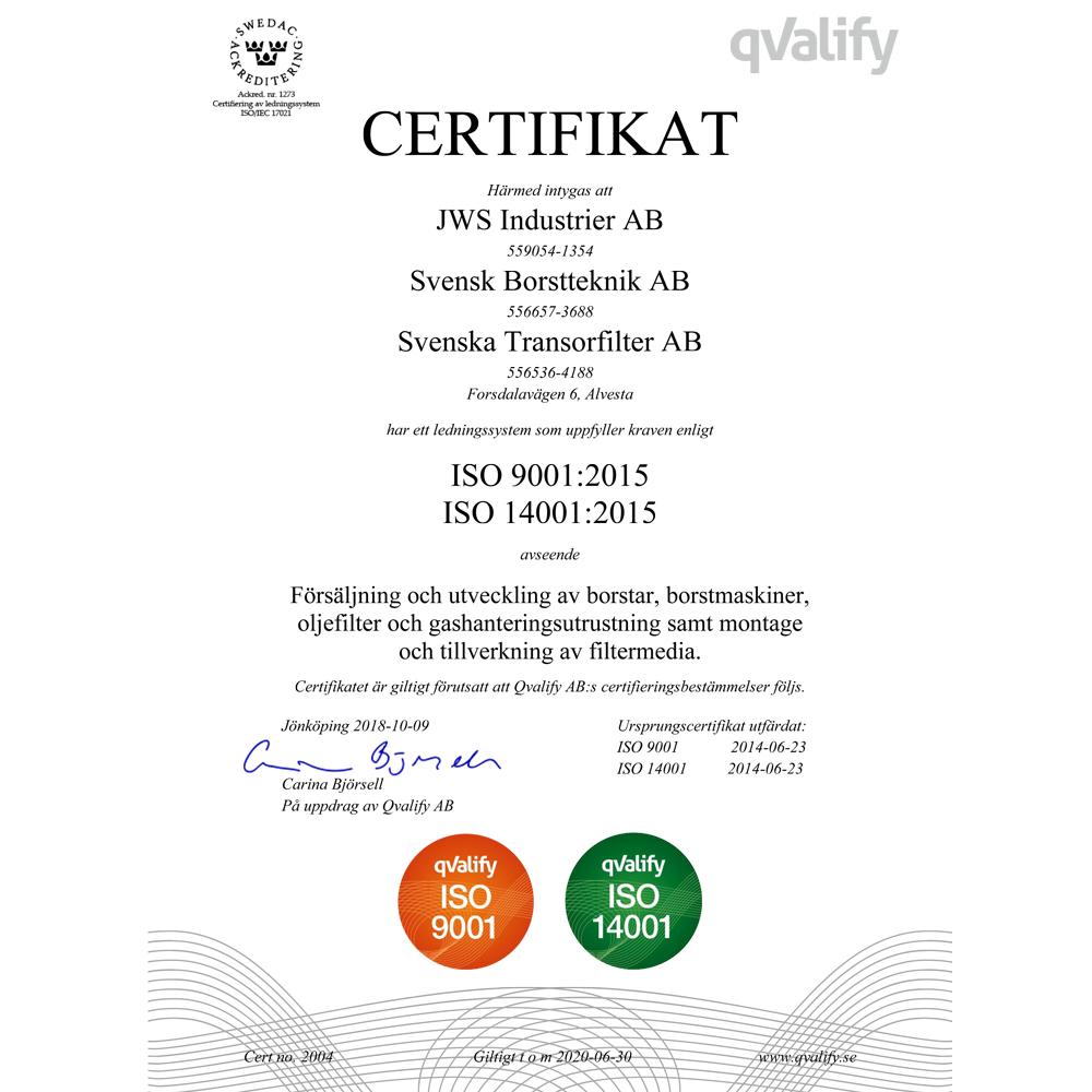 Certifikat 2004 ISO 9001-14001 Svenska Transorfilter AB