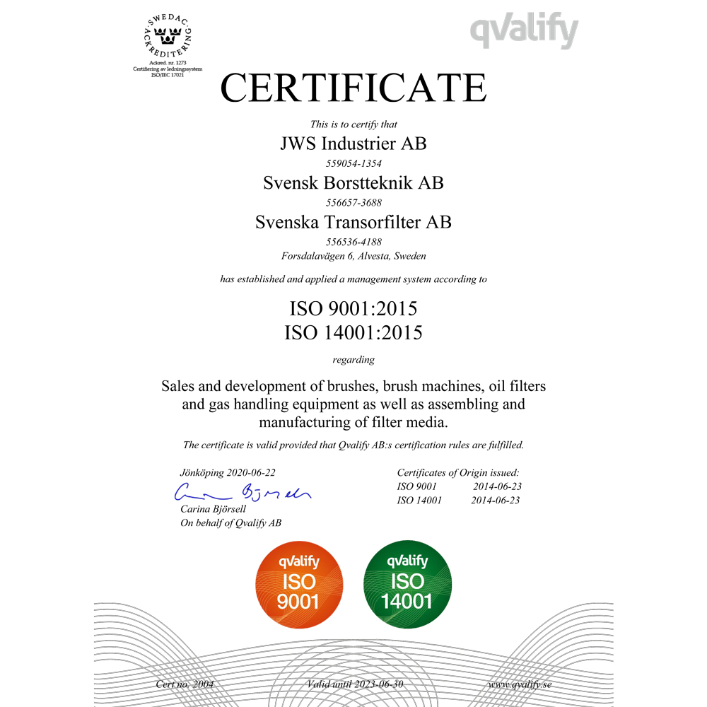 Certificate No 2004 ISO 9001 and 14001 Transorfilter Sweden